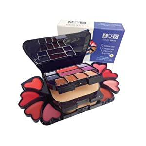 ADS Color Series Makeup Kit 8 Eyeshadow 1 Power Cake 8 Lip Color 2 Blusher (Product Color May Vary) 22g
