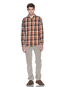 Tailor Vintage Men's Buffalo Check Shirt (Orange Plaid)