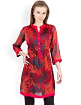 Ayaany Red Color Printed Casual Kurti for women