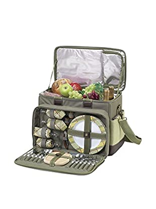 Picnic At Ascot Hamptons Deluxe Cooler For 4, Olive/Tweed