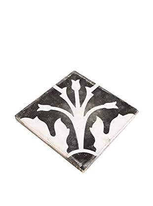 Portuguese White Corner Flower Tile, Black/White