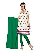 vardhman Cream Chanderi Straight Dupata Work Dressmaterial Suit.