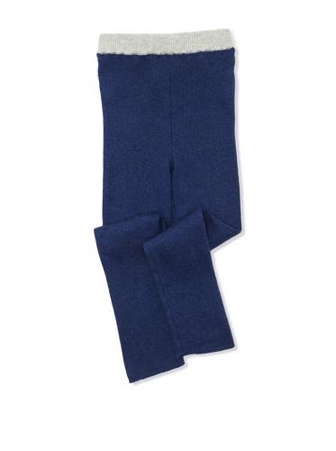 kicokids Girl's Ribbed Cotton Leggings (Indigo/Grey)