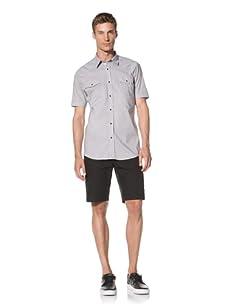 Dorsia Men's Joe Short Sleeve Snap Front Shirt (Grey)
