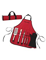 6-Pc. Barbecue Chef's Tool Set with Apron in Red with Black Trim