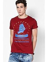 Maroon Printed Crew Neck T Shirt