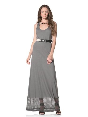 Twenty Tees Women's Racerback Maxi Dress with Mesh (Ripe Olive)