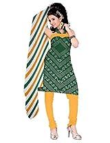 Kala Sanskruti Bandhani Cotton Satin Green Dress Material