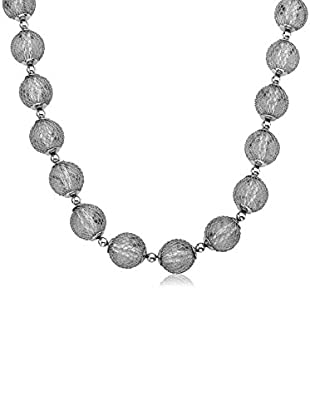 Riccova Country Chic Black Rhodium Mesh Over Lucite Balls Necklace