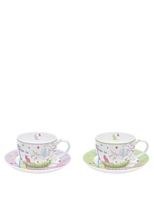 Easy Life Design Set 2 Tazzine Espresso con Piattini in Porcellana Bone China Cats 75 ml