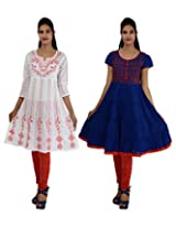 Anpassa Women's Cotton White and Blue Kurti Combo Set - Medium