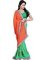 Chandra Silk Mills Orange Green Jacquard Half-Half Wedding Party Wear Saree