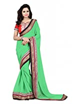 Zoom Chiffon Stone Work Saree With Blouse Piece (101-A -Sea Green)
