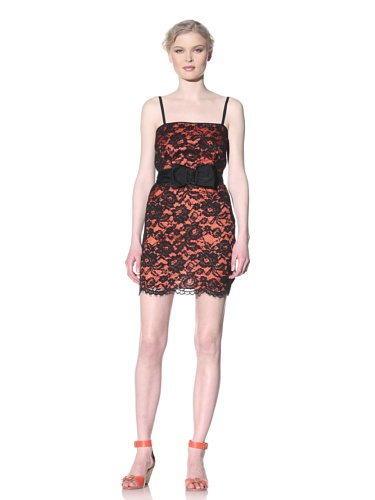Moschino Cheap and Chic Women's Lace Dress with Bow Belt (Black Lace)