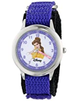 Disney Kids W000053 Beauty and the Beast Stainless Steel Time Teacher Watch with Purple Band