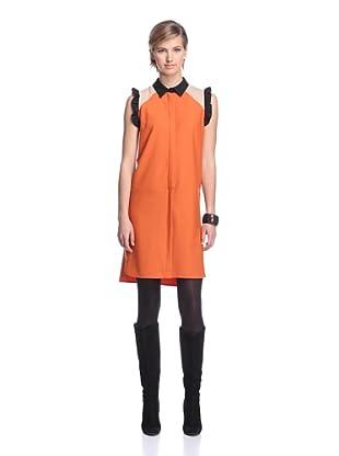 MARNI Women's Sleeveless Tricolor Dress (Orange/Beige/Black)