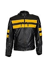 KAVACi Lemans - Biker Pro Long Sleeve Round Neck Leather Jacket_Black/Yellow