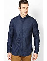 Dark Blue Full Sleeve Solid Denim Shirt Phosphorus