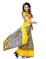 Sourbh Satin Saree (7512 _Yellow,Grey)