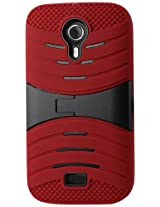 Reiko Silicon Case and Protector Cover with New Kickstand for BLU Studio 5.0 D530 - Retail Packaging - Red/Black