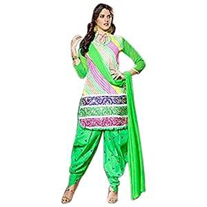 Multicolor Cotton Top With Cotton Bottom & Chiffon Dupatta Printed Work & Embroidery Unstitched Punjabi Patiala Salwar Kameez Suit
