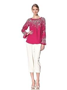 Naeem Khan Women's Beaded & Embroidered Peasant Blouse (Fuchsia)