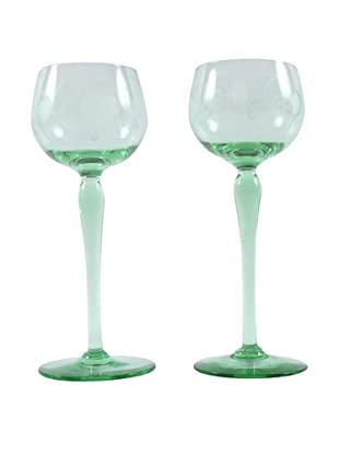Pair of Paris Green Wine Glasses
