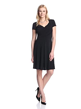 Leota Women's Cap Sleeve Fit-and-Flare Dress (Black)