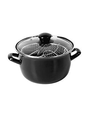 Crealys Cacerola freidora esmaltada negra Ø 20cm