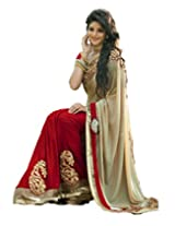 Clickedia Women Georgette Beige & Red Beautiful Saree With Attached blouse Pc