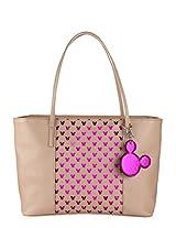 Beige Polyurethane (Pu) Handbag