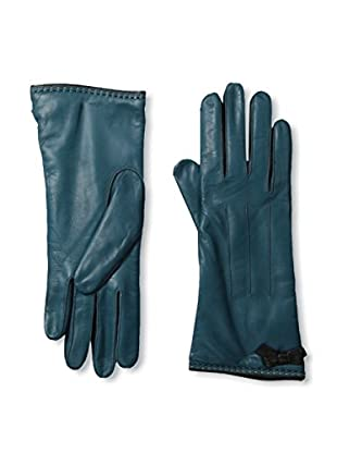 Portolano Women's Contrast Piping Leather Gloves (Mid Teal/Black)