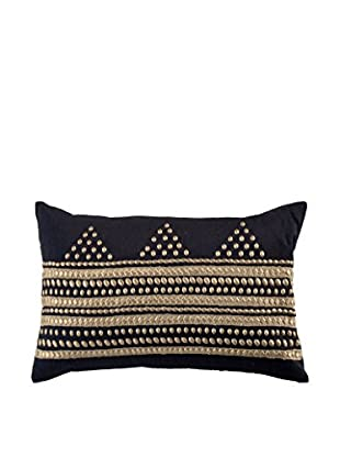 Bandhini Homewear Design Cross Ripple Black Lumbar Pillow, Gold/Black