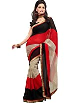 Fabdeal Printed Saree Faux Georgette Fz10192Bnt