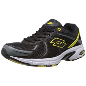 Lotto Men's Atlanta III Black and Yellow Mesh Running Shoes - 6 UK By Lotto