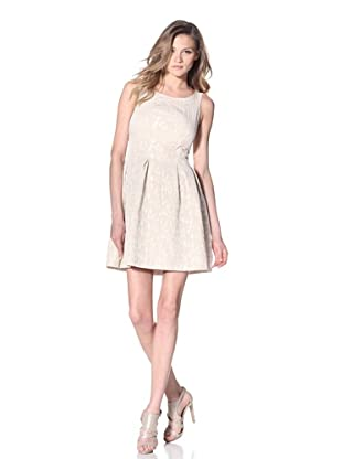 Taylor Dress Women's Jacquard Fit-and-Flare Dress (Natural)