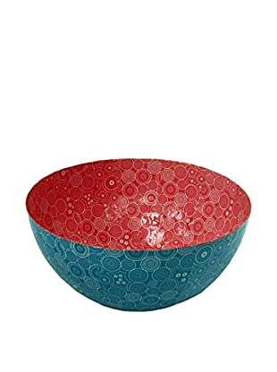 Asian Loft Handcrafted Paper Mache Bowl, Blue/Pink