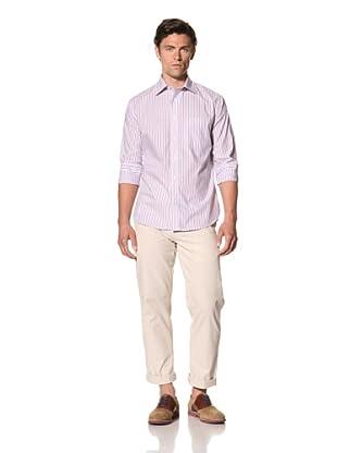 Haspel Men's Striped Shirt (Purple Stripe)