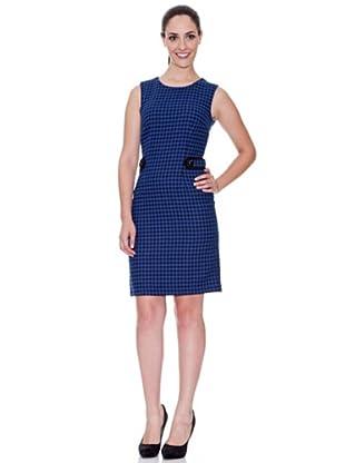Cortefiel Kleid mit Hahnentrittmuster (Blau)