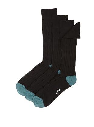 2(x)ist Men's 3-Pack of Solid Socks (Black/Green)