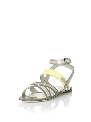 JASON WU Women's Carey Flat Sandal (Grey/Citron)