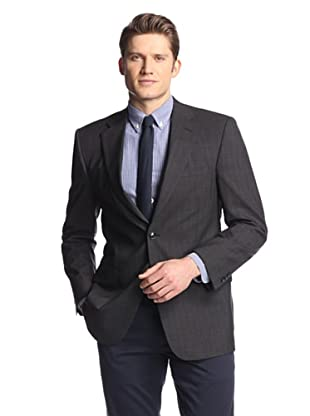 hickey Men's 2 Button Side Vent Wide Striped Sportcoat (Charcoal)