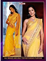 Gerogette Yellow Bollywood Replica Saree