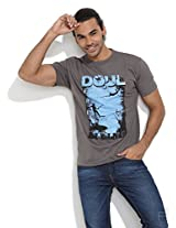 Free Diving Printed T-Shirt -Light Grey-L