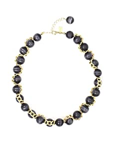 Tuleste Market Woven Marble Necklace, Gold/Charcoal