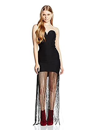 Rare London Cocktailkleid Fringe Plunge Maxi