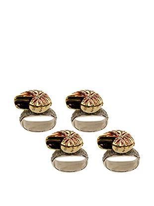 Set of 4 Painted Chamber Nautilus Napkin Rings