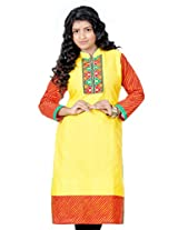 B3Fashion Cotton yellow Supernet kurti with Full Leheria Sleeves and Border with Gujrati Embroidery & Mirror Work Yoke with Cotton Lining