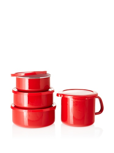 Reston Lloyd Calypso Basics 6-piece Bowl Set with 4-in-1 Mini Stock Pot (Red)