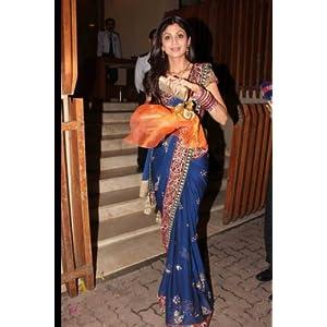 bollywood replica Shilpa Shetty Blue Chiffon Saree with Marron Designer Brocade